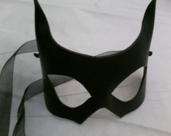 Black Leather Party Vixen Kitty Cat Mask