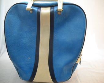 Vintage BRUNSWICK Blue With Black And White Stripe Single Bowling Bag Free Shipping
