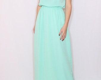 SALE Mint green dress Long bridesmaid dress Chiffon dress Prom dress Keyhole dress