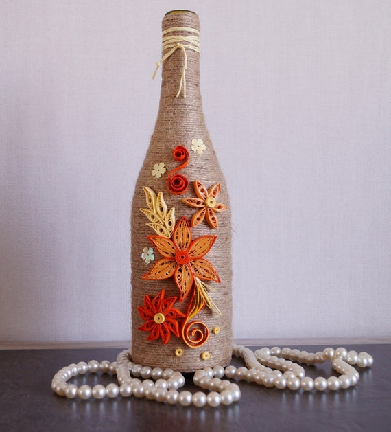 Wine bottle decor decorated wine bottles home wine bottle for Unique wine bottle designs