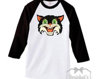 Halloween Shirt Women - Tattoo Cat Halloween Baseball Shirt - Mens Scary Halloween Cat - Adult Unisex -Halloween Party Size S M L Xl 2Xl 3xl