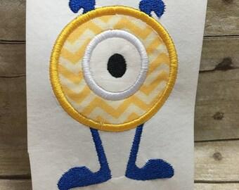 Circle Monster Applique, Monster Embroidery Design Applique