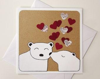 Valentine's Card - Polar Bear Card - Bear Card - Love Animal Card -Christmas Card Bear - Anniversary Card - Birthday Card - Boyfriend Card