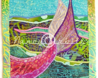 "Original Quilt Art, ""A Mermaid's Tale"", 7"" x 9"", Nancy Turbitt Art"