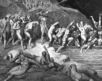 Doomed Souls Cross Acheron Inferno Canto 3 Engraving Gustave Dore' Hell Black & White
