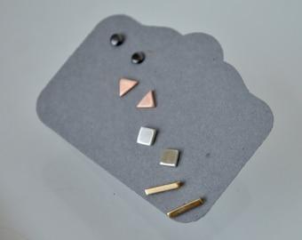 Mixed Metal Stud Earrings, Brass, Copper, Silver, Black Post Earrings, Multi Color Earrings, Geometric Earrings, Set of Four Earrings, Brass