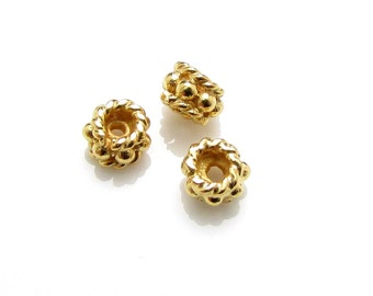 4 Pcs, 4mm, 24k Gold Vermeil Bead Spacers