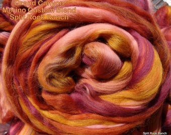 4 oz Grand Canyon Custom Blend - 100% Merino to Spin, Felt, Create Fiber Art - Rust, Terracotta, Amber, Salmon, Wine, Burgundy