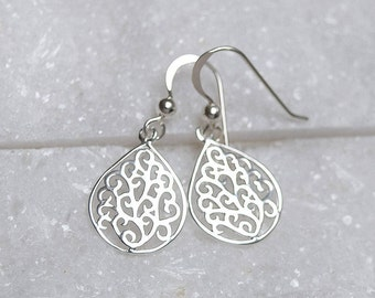 Sterling Silver Teardrop Filigree Earrings