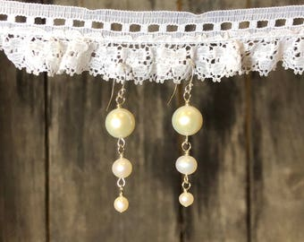 Tiered Freshwater Pearl Dangle Earrings