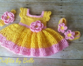 Crochet Baby Dress, Yellow Pink Baby Outfit, Handmade Baby Headband, Newborn Baby Outfit, Baby Shower Gift, Infant Girl Dress, Baby Gift