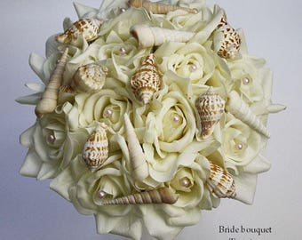 Ivory, champagne, seashell/shells/brooch, bouquet, Real Touch flowers, Bride, Groom, wedding, set, silk, white/offwhite, beach, roses