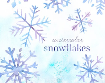 Watercolor Snowflakes Clipart | Holiday Snowflakes - Christmas Cards, Scrapbooking, Blue and Purple - Digital Instant Download PNG Files