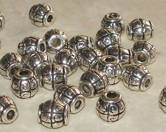 Tibetan Silver Lined Barrel Spacers - 14