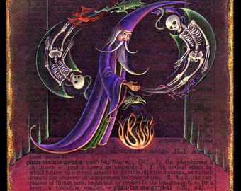 Fantasy wizard art print, Phantasmagoria: Ghostly skeletons & demon creatures, Magical spirits, Alphabet letter P, Macabre painting