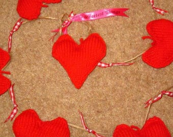Knitted heart garland