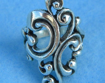 Sterling Silver Large Beautiful Scroll Ring Size 6
