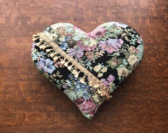 Handmade Valentines Day Tapestry Decorative Heart Shape Floral Throw Pillow with Repurposed Button and Tassels