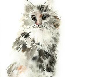 Cat ORIGINAL Watercolor Painting, cat watercolour art, Cat Art, Modern Watercolour Painting of Cat