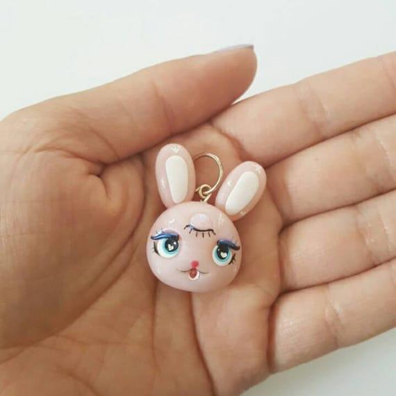 Cute Moon Bunny Polymer Clay Charm, Bunny Polymer Clay Pendant, star, Pink,  Charm, polymer clay, clay pendant, Kawaii, Chibi, Clay Charm