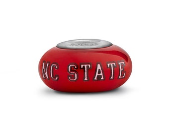 North Carolina State Wolfpack Glass Bead Fits European Style Bracelets