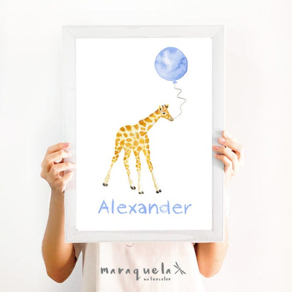 Little GIRAFFE Blue balloon Watercolor, CUSTOM name nursery decor. Customized Baby art. Animals decoration, baby shower boys, kids, boy room