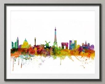 Paris Skyline, Paris France Cityscape Art Print (986)