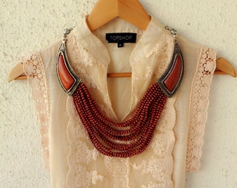 Red Necklace/Statement Necklace/Boho Necklace/Beaded Necklace/Bohemian Necklace/Silver Necklace/Handmade Necklace