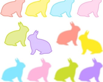 60% OFF SALE Bunny Digital Clip Art, Easter Bunny Clipart, Rabbit Clipart, Commercial Use, Instant Download - M359