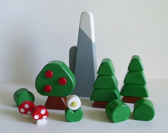 Canadian Woodland Play Set, Kids Wooden Toy Mountain Forest Nature, Modern Room Wood Decor, Waldorf Kids gift, Jacobs Wooden Toys