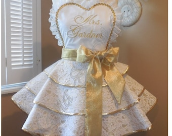 Lace Bridal Apron Featuring Heart Shaped Bib Accented In Gold...Perfect Bridal Shower Gift