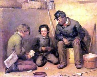 High Stakes Game, c. 1861, Thomas LeClear, Cards, Yankee Soldier, Freedmen, Regiment, Civil war art, antique war print, confederate soldier