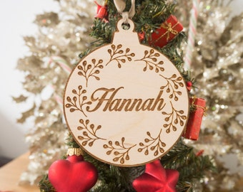 Christmas Ornaments - Christmas Favors - Floral Ornament - Name Ornaments - Christmas Decoration - Ornament - Christmas - Wooden Ornaments