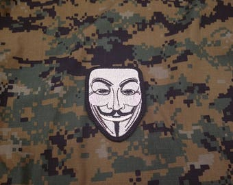 Embroidered Guy Fawkes Mask Hook and Loop Patch