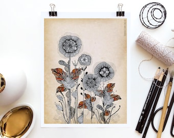 Floral 3 by Iveta Abolina -  Floral Illustration Print