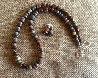 23 Inch Earthtoned Necklace made from Gorgeous Picasso Jasper Heishi and Round Beads with Sterling Hook and eye Clasp!!