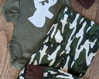 Baby Boy Camo Outfit, Antler Outfit, Baby Deer Outfit, Baby Boy Pant Set, Take Home Outfit, Baby Boy Hunting Outfit, Little Hunter