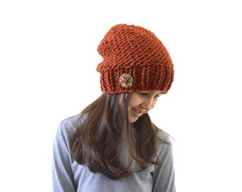 Chunky Knit Girls Buttoned Slouchy Hat Beanie Toque, Children Slouchy Beanie, Girls Pom Pom Hat | The Little Charlotte