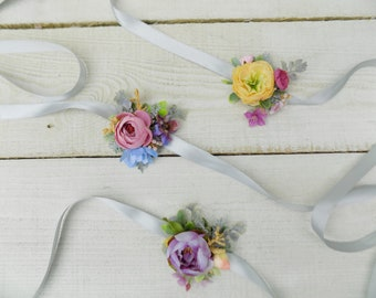 Wedding wrist corsage bridal accessories prom party artificial silk flowers yellow pink blue purple bridal flower bracelet corsage