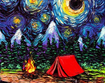 Camping Art Print - Starry Night wilderness Off The Beaten Path by Aja 5x5, 8x8, 10x10, 12x12, 20x20, and 24x24 choose