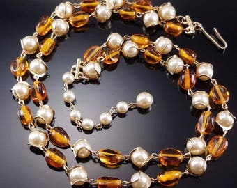Vintage Amber Glass Caged Pearl Choker 1950s Estate Midcentury Beaded Jewelry