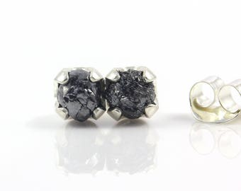 Jet Black Rough Diamond Studs in Silver - 5 mm Post Earrings, Four Prongs - Raw Uncut Unfinished Diamonds - April Birthstone