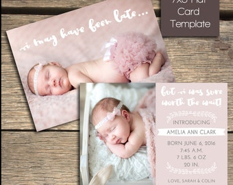 INSTANT DOWNLOAD - Birth Announcement - 7x5 Photoshop Template - B106