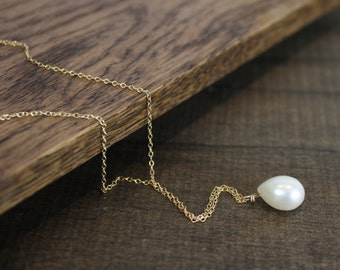 Pearl Drop Pendant Necklace - Wedding Jewelry - Wedding Necklace - Gift For Her - June Birthstone - Christmas Gift - Stocking Stuffer
