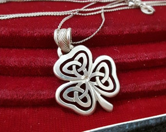 Vintage Sterling Silver Necklace, Lucky Irish Clover, 18 Inch Chain