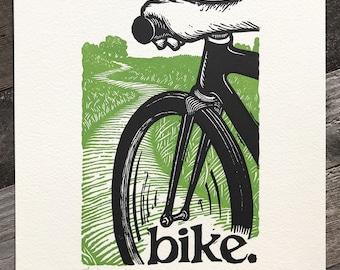 bike.   11x14 letterpress print.