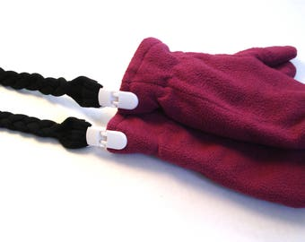 """Children's long mitten Clips in fabric - Black, burgundy or blue-gray - Kids 3 to 5 years, 40 """", Stretch, Eco-friendly"""