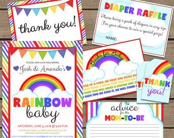 Rainbow Baby Shower Invitation Bundle | Rainbow Baby Shower Invitation  | Rainbow Baby Invitation | Invitation Bundle | Invitation Set