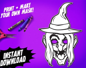 PRINTABLE Witch Coloring Mask, kids paper halloween mask, DIY halloween costume, great for Halloween parties, instant download PDF