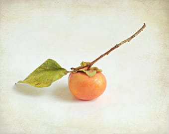 "Persimmon Art Print, Fruit Still Life, Food Photography, Orange White, Kitchen Wall Art, Minimal Food Art Print ""Persimmon on White"""